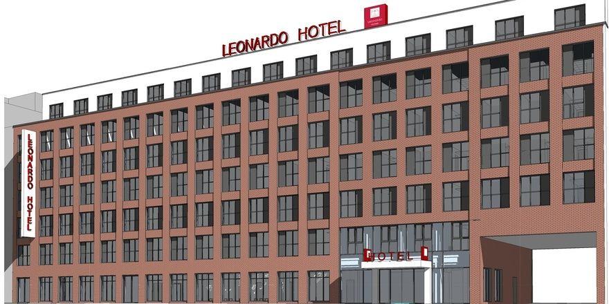 So soll's aussehen: Das künftige Leonardo Hotel in Hamburg-Altona (Rendering)