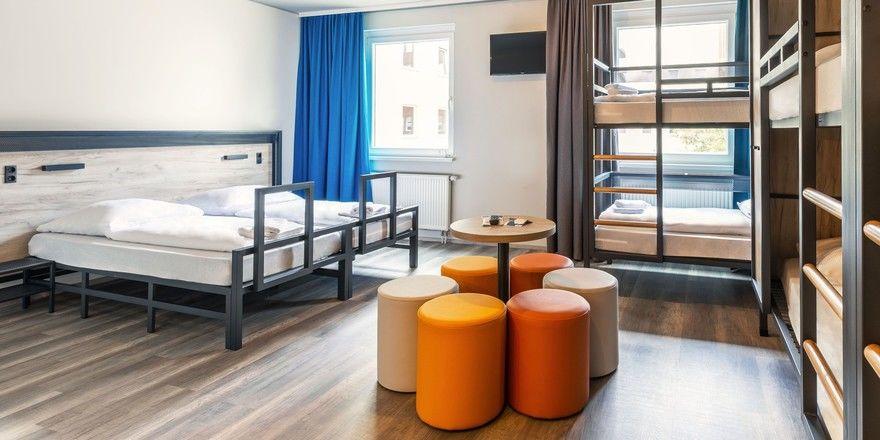 Familienzimmer nach dem Designrelaunch bei A&O: Hier ein Beispiel vom A&O Berlin Hauptbahnhof