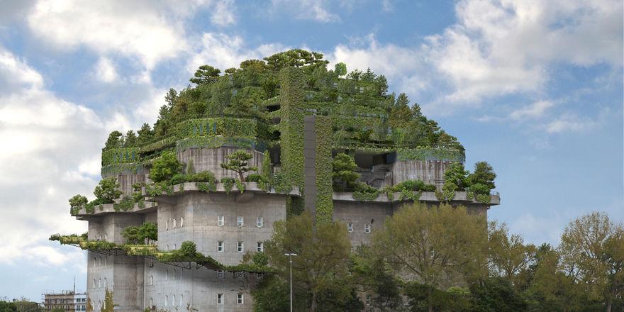 Spektaktuläre: Die grüne Haube auf dem Bunker wird einst das Hotel beherbergen