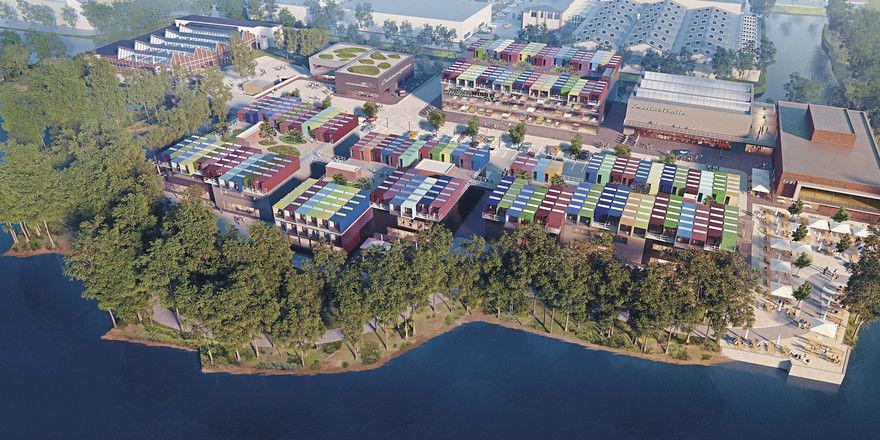 Erste Eindrücke: Die Motorworld Manufaktur Berlin soll durch ihr Containerhotel in Wassernähe bestechen