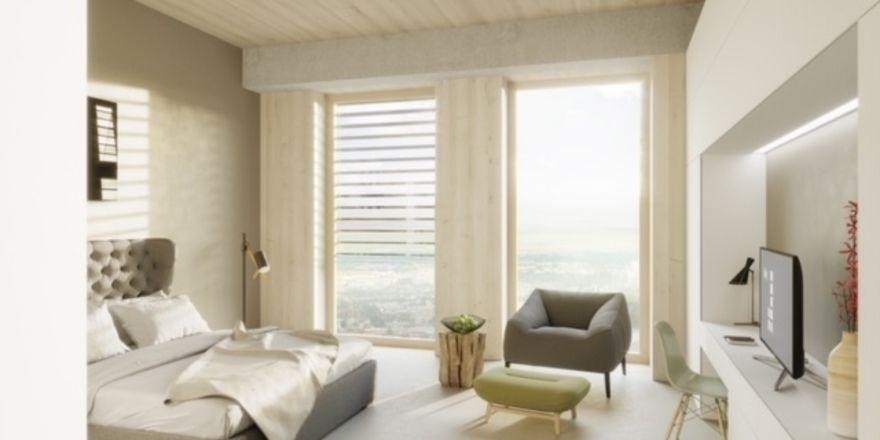 Ein Zimmer aus Holz: Dormero bekommt den Zuschlag für das Hotel im HoHo in Wien