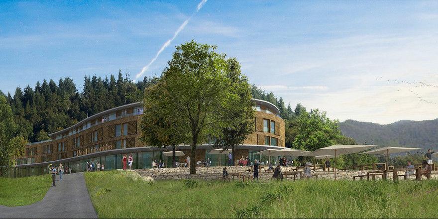 Fügt sich in die Topographie der Landschaft: Das Hotel Luisenhöhe soll großzügiges Wohnen mit Panoramblick ermöglichen