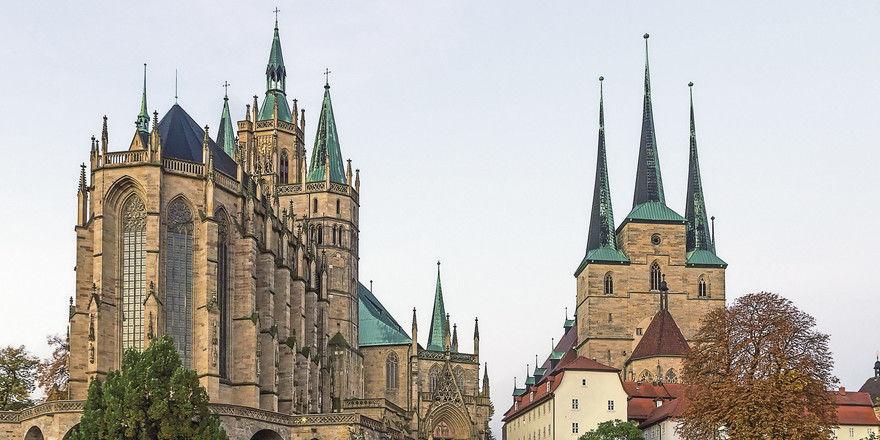 Katholisches Doppel in Erfurt: Dom und Severikirche thronen über der Thüringer Landeshauptstadt