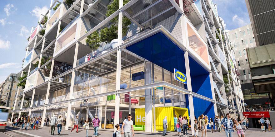 Ikea trifft Hotel: In die beiden oberen Stockwerke zieht Jo&Joe ein. Die öffentlich zugängliche Dachterrasse wird gemeinsam genutzt