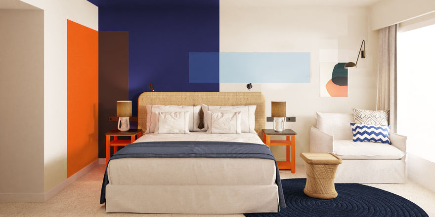Farbakzente in schlichtem Ambiente: So sollen die Zimmer im künftigen Hotel Olivia auf Mallorca aussehen