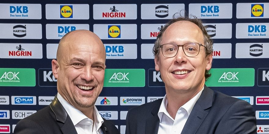 Neue Partnerschaft (v.l.): GCH-Chef Sascha Hampe mit Mark Schober, Vorstandsvorsitzender des Deutschen Handballbundes