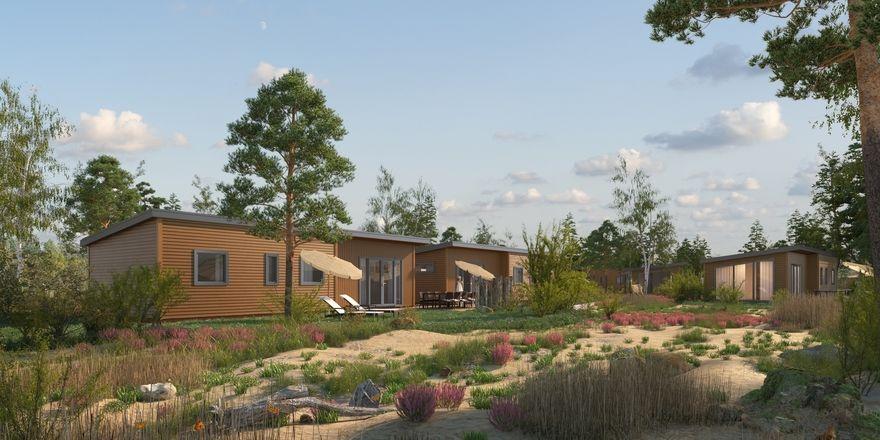 So soll's aussehen: Eine Illustration der neuen Ferienhäuser für Tropical Islands
