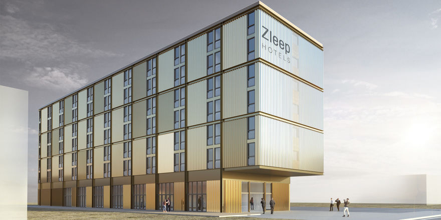 So soll es aussehen: Das geplante Zleep Hotel am Altonaer Volkspark in Hamburg