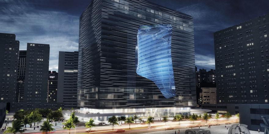 Hingucker selbst in Dubai: Das Hotelgebäude mit besonderer Form