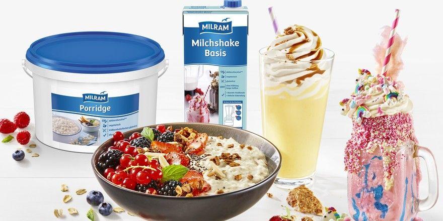 Neu bei Milram: Porridge und eine Milchshake-Basis