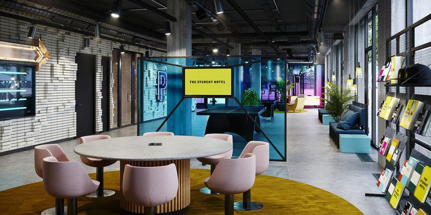 Einladend: The Student Hotel will mehr sein als nur Unterkunft, nämlich Co-Living für Studenten, Hotel, Veranstaltungsort und Coworking Space