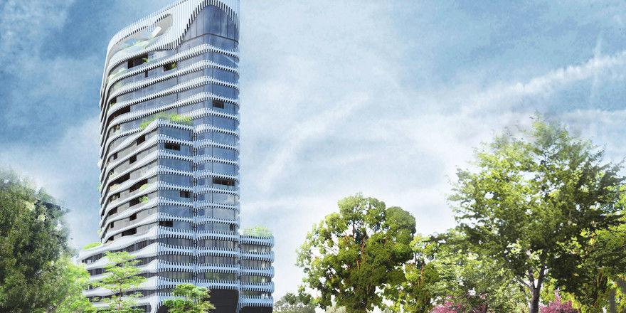 Projekt: Ein Rendering des geplanten Mixed-Use-Hochhaus nahe des Rheinufers