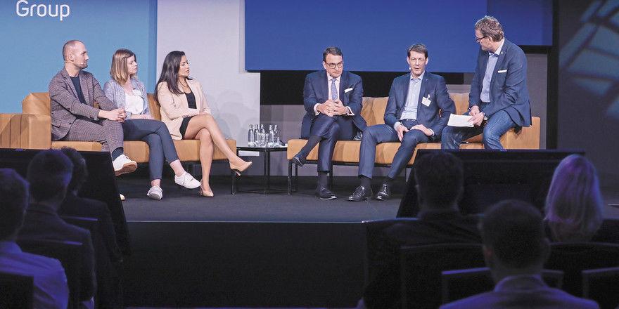 Diskutierten zum Thema Fachkräfte von morgen: (von links) Christian Henzler, Nadja Dahlmann, Katharina Saavedra, Alexander Aisenbrey, Guido Zöllick und Christian Buer