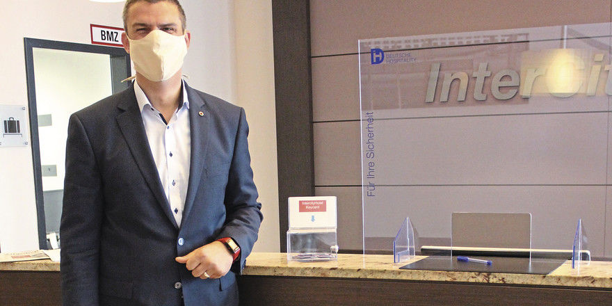 Restart mit Maske: Matthias Sieber-Wagner, General Manager im Intercityhotel Mainz.