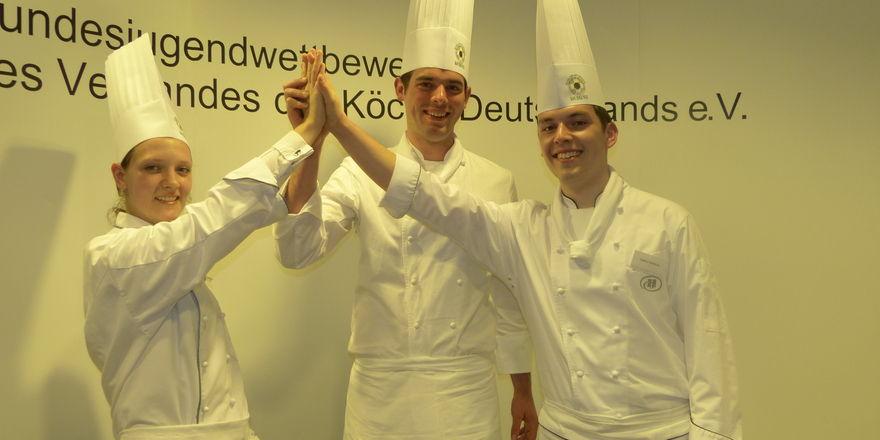 Die Spitze der Nachwuchs-Kochelite: (v.l.) Annerose Lillge, Felix Weber und Stefan Heidicke