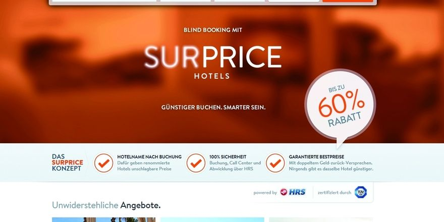 Neues Blind-Booking-Portal: Die HRS-Tochter Surprice-Hotels.com