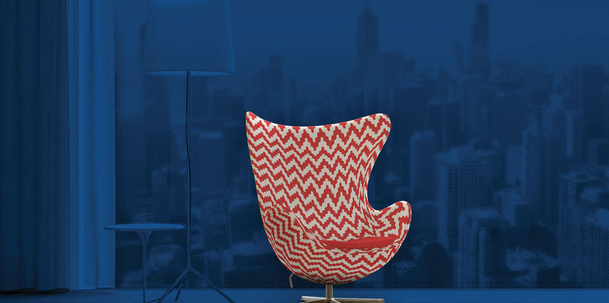 Ob mit Karomuster oder Streifen: Ab sofort können Gäste auf der Website von Radisson ihren eigenen Egg-Chair gestalten