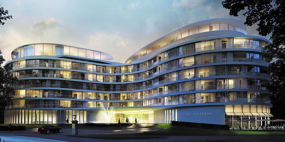 Neue Art der Hotelarchektektur: Die Fassade ist konvex und konkav geformt