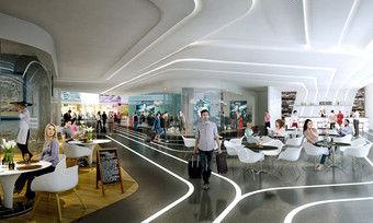 """Geplantes Terminal 3 am Frankfurter Flughafen: Auf einer Gesamtfläche von rund 6000 Quadratmetern soll es vielseitige Gastronomieangebote geben, darunter auch """"roughe"""" Konzepte."""