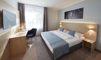 Zeitgemäßes Design: Eines der frisch renovierten Zimmer im neu eröffneten GHotel Hotel & Living Göttingen