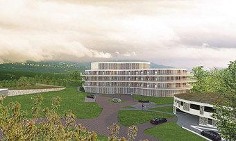 Rendering: Dau Design So wird es aussehen: Das geplante Hotel neben der Therme. Eröffnung soll 2021 sein.