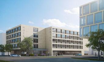 Wird neu gebaut: Das Leonardo Hotel am Zürcher Flughafen (Rendering)