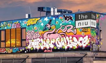 Streetart auf der Außenfassade: So präsentiert sich das neue Niu Hide auf dem Parkdeck des Ring-Centers in Berlin