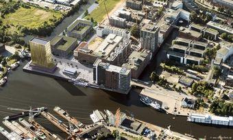 Investitionsobjekt: Luftbild des geplanten Tower des Plaza Premium Hotel Hamburg