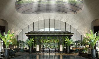 Viel Grün: Die Lobby im neuen Sindhorn Kempinski Hotel Bangkok