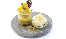 Appetitlich: Das Debic-Rezept Orangen-Tiramisu mit Zitronen-Granita.
