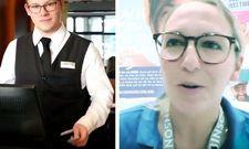 Video-Szenen: Links Azubi Hendrik Herre vom HKK Hotel Wernigerode in Aktion, rechts eine Robinson-Mitarbeiterin im DHA-Interview.