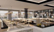 Konzept-Mix im Innside by Meliá Leipzig: Restaurant trifft auf Lobby trifft auf Bar.
