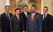 Ziehen an einem Strang: Christian Hollweck (Direktor Geisel Privathotels), Stephan Geisel, Michael Geisel, Carl Geisel, Thomas Kösters (Prokurist Geisel Privathotels).