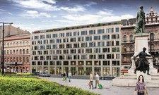 So soll's aussehen: Ein Rendering des geplanten Intercity Hotels in Budapest