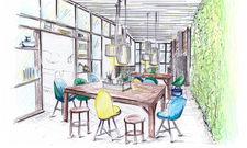 Wohnzimmer trifft auf Kaffeehaustradition: Erste Skizze der Lobby im Vienna House Easy Leipzig.