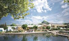 Eröffnung 2018: Der Market Dome mit Restaurants, Geschäften und Ferienangeboten soll der zentrale Bereich im neuen Center Parc Allgäu werden.