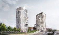So soll es aussehen: Ein Rendering des künftigen Atlantic Hotels (links) auf der Inselspitze