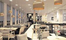 Maritimes Design: Im Restaurant Werft soll der Gast an die Nähe des Hafens erinnert werden.