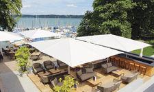 Exponierte Lage: Die neue See-Lounge mit Bar.