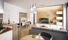 Helle Farben, klare Formen: Der Übergang vom Wohn- zum Essbereich in den Apartments ist fließend.