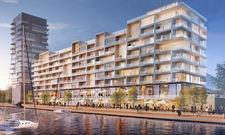 Der Hotelkomplex Pier 61 63 bietet 167 Zimmer mit Spreeblick