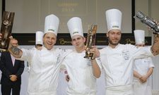 Die Finalisten des Bocuse d´Or 2016 (v.l.): Martin Stopp (La Maison Hotel, Saarlouis), Marvin Böhm (Ritz Carlton Wolfsburg) und Eric Kröber (Clouds Heaven´s Kitchen, Hamburg).