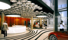 Felgen an der Decke, Autos im Foyer: Das V8 Hotel Superior Motorworld in Böblingen