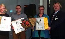 Gewinner des AHGZ-Webseiten-Checks (von links): Karin Juhl vom Gästehaus Juhl in Rangendingen, Steve Lawall vom Gardenhotel Krefeld und Martina Nana Frisch vom St. Michaels Heim in Berlin zusammen mit Thomas Barsch von der Pionierfabrik