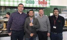 Machten Ciao Bella bei Airbus möglich: Timo Becker (District Manager Aramark), Navid Saidi (Geschäftsführer Ciao Bella), Michael Pokorski (Manager Projekte Aramark) und Florian Pfaffenthaler (Area Manager Ciao Bella, v. l.)