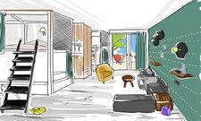 Moderner Schlafsaal: Dorm im künftigen Vienna House R.evo