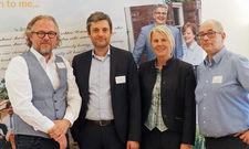 Amtsübergabe (von links): Ex-Präsident Jan Pauls, Vize Volker Dürr, Geschäftsführerin Susanne Weiss, neuer Präsident Bernd Kanzow