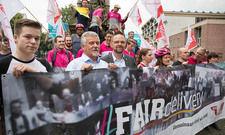 #Fair delivery: Unter diesem Motto demonstrierten Fahrer aus der Lieferdienstbranche auf dem Riders Day Cologne