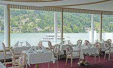 Ein Kleinod: Das Panoramarestaurant im Hotel Bachmair am See. Das Haus wurde aufgefrischt und ist zurzeit noch ohne Wellnessangebot verkleinert auf dem Markt aktiv.