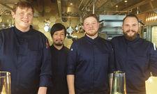 Starkes Quartett: (von links) Küchenchef Frank Möbes, Takeshi Suzuki, Daniel Nelson und Thomas Stach